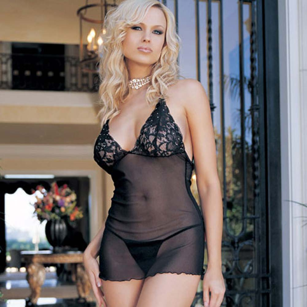 Lace Cup Mesh Dress with Rhinestone Accents and G-String - View #2