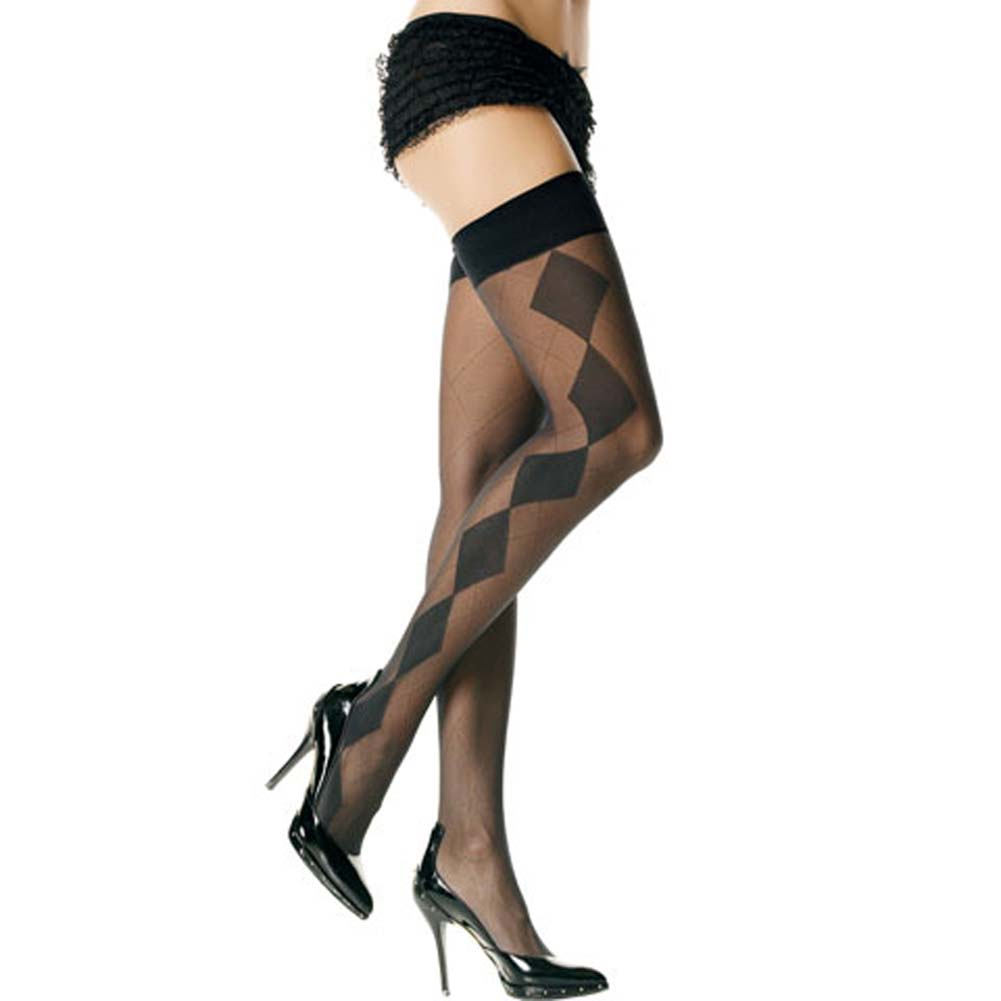 Sheer Thigh Highs with Diamond Side Stocking Black - View #2