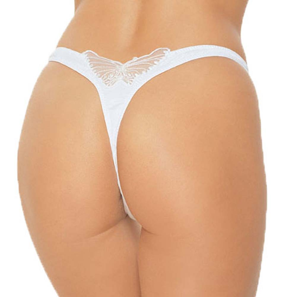 Lycra V Front Lined Thong with Butterfly Applique On White - View #1