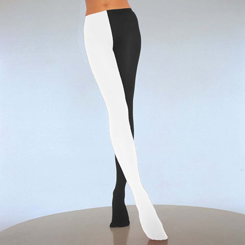 Two Tone Jester Tights Black and White - View #1