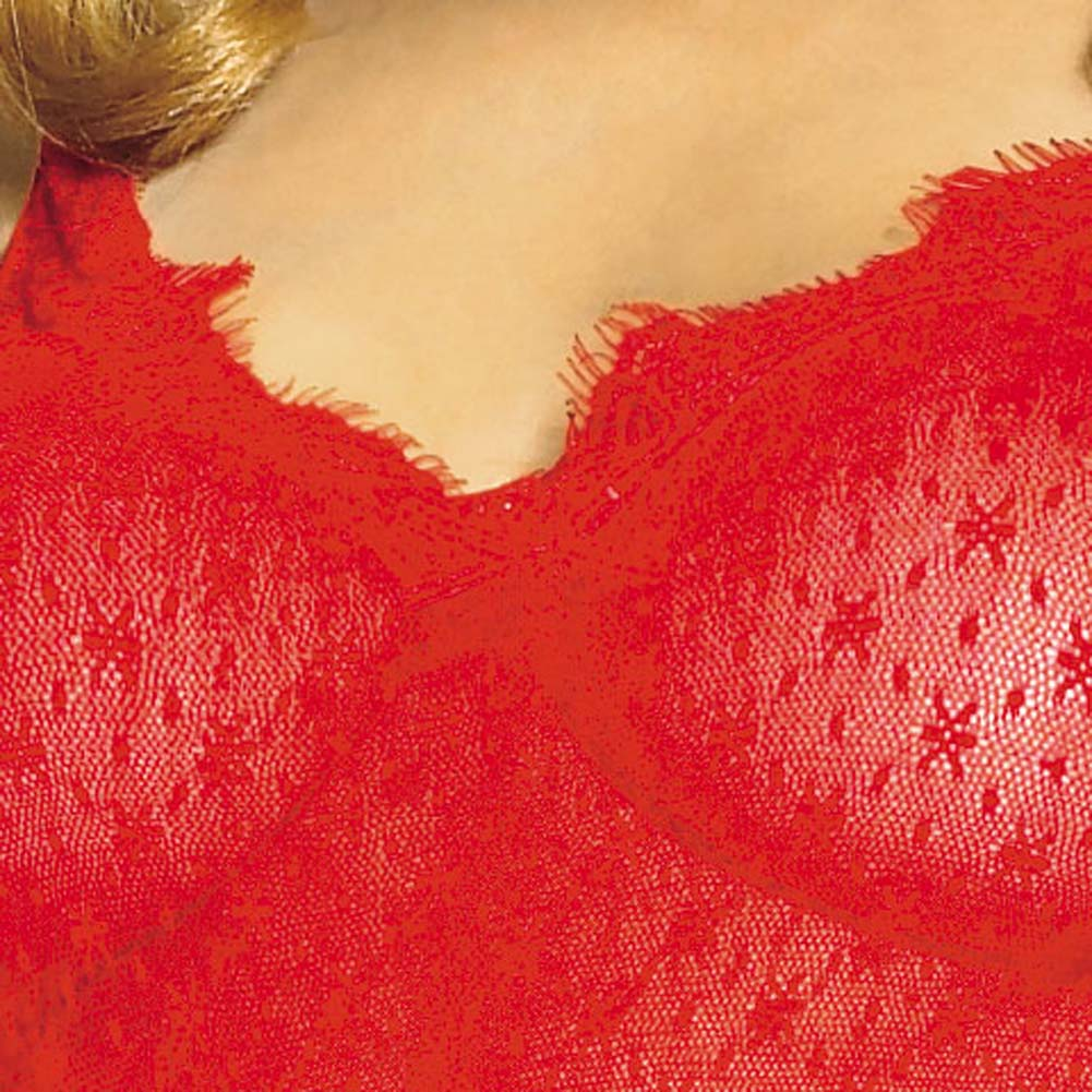 Mini Daisy Lace Chemise with Eyelash Lace Trim Set Red - View #4