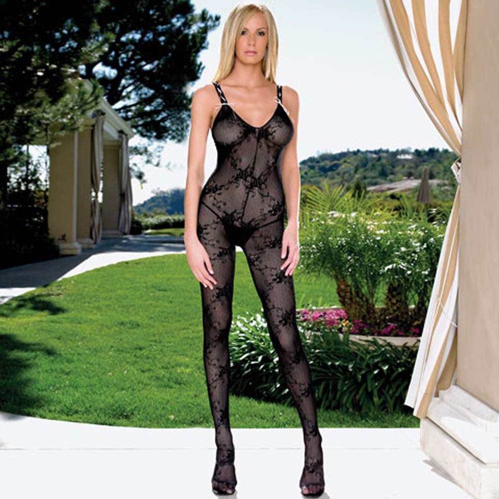 Lace Bodystocking with Ribbon Lace Up Straps - View #1
