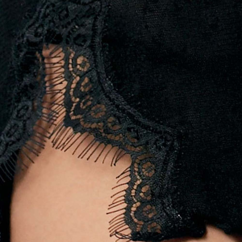 Lace Mini Dress with Eyelash Lace Trim and G-String Set - View #4