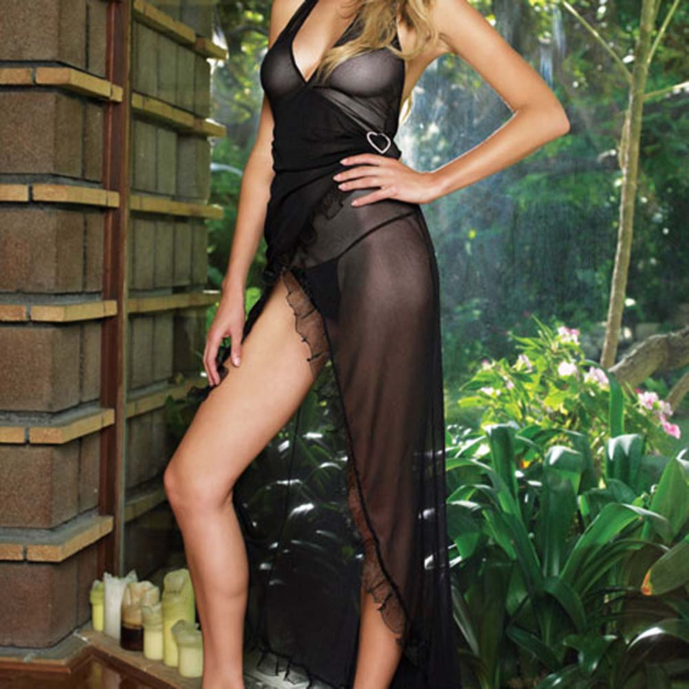 Mesh Halter Wrap Dress with Rhinestone Buckle Plus Size Blk - View #3