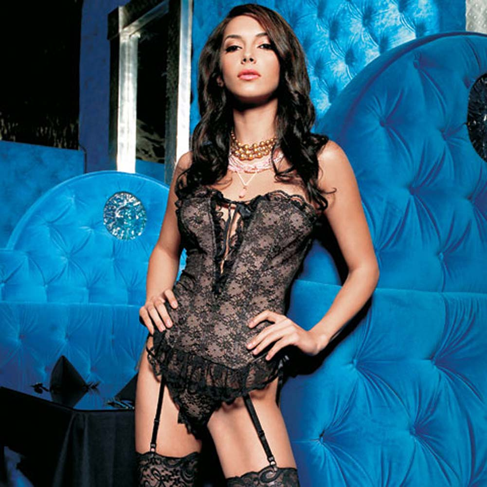 Strapless V Cut Lace Bustier and G-String Set Large - View #1