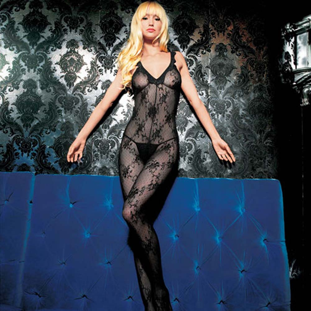 Boudoir Rose Lace Bodystocking with Scalloped Lace Trim - View #1