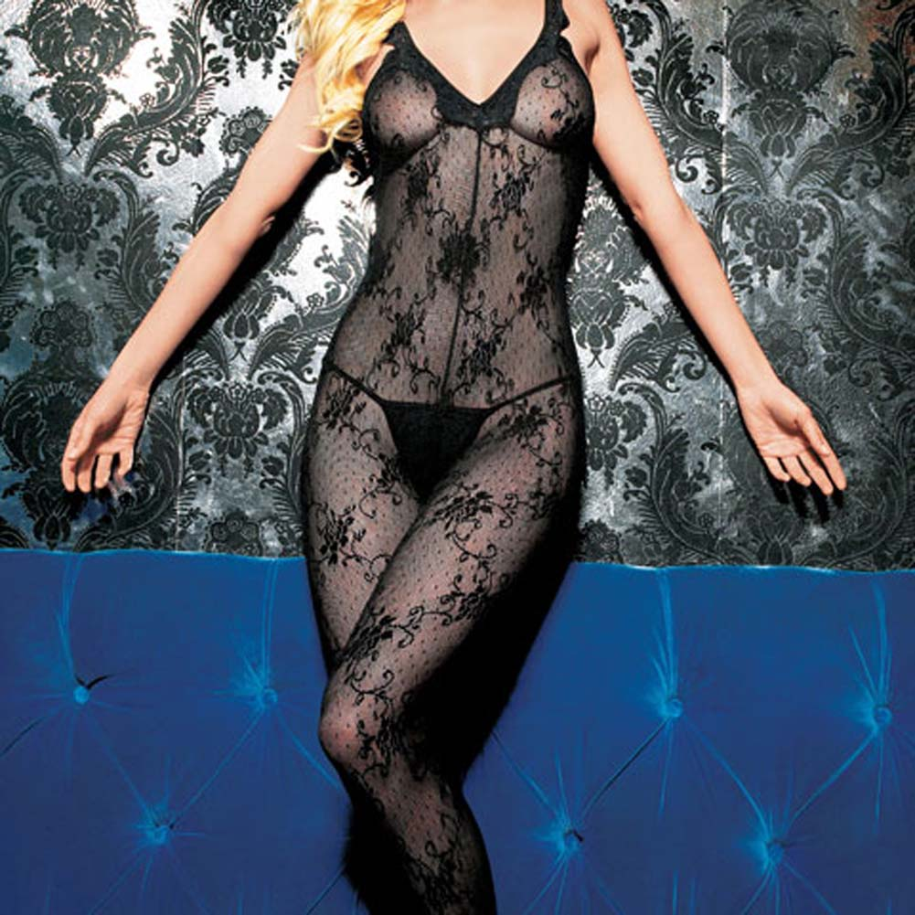 Boudoir Rose Lace Bodystocking with Scalloped Lace Trim - View #3