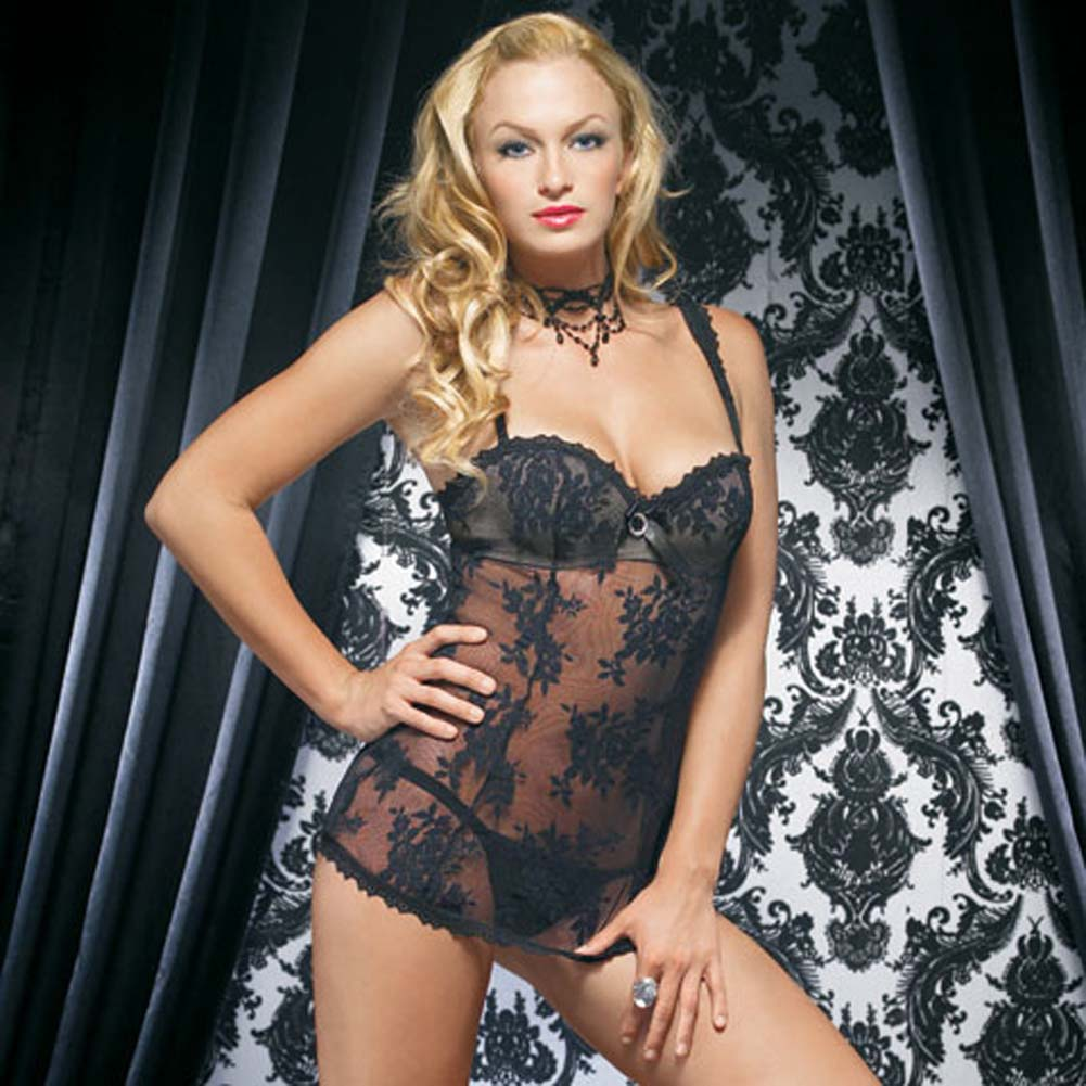 Lace Mini Dress with Underwired Bra Shell and Thong Medium Black - View #2