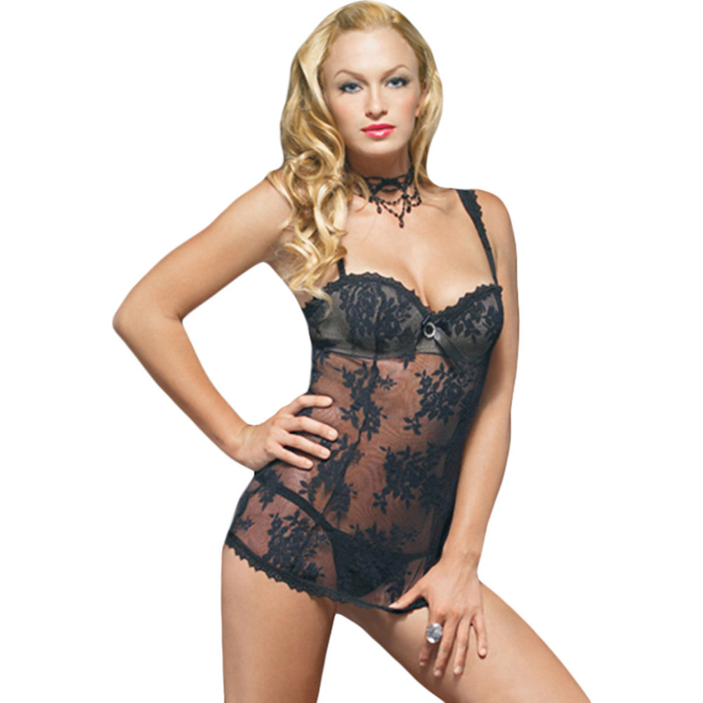 Lace Mini Dress with Underwired Bra Shell and Thong Large Black - View #1