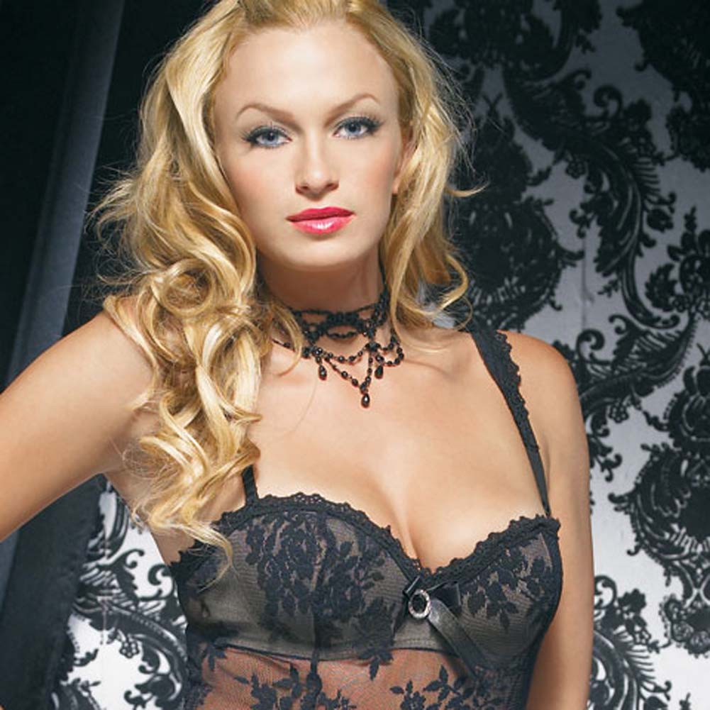 Lace Mini Dress with Underwired Bra Shell and Thong Large Black - View #3