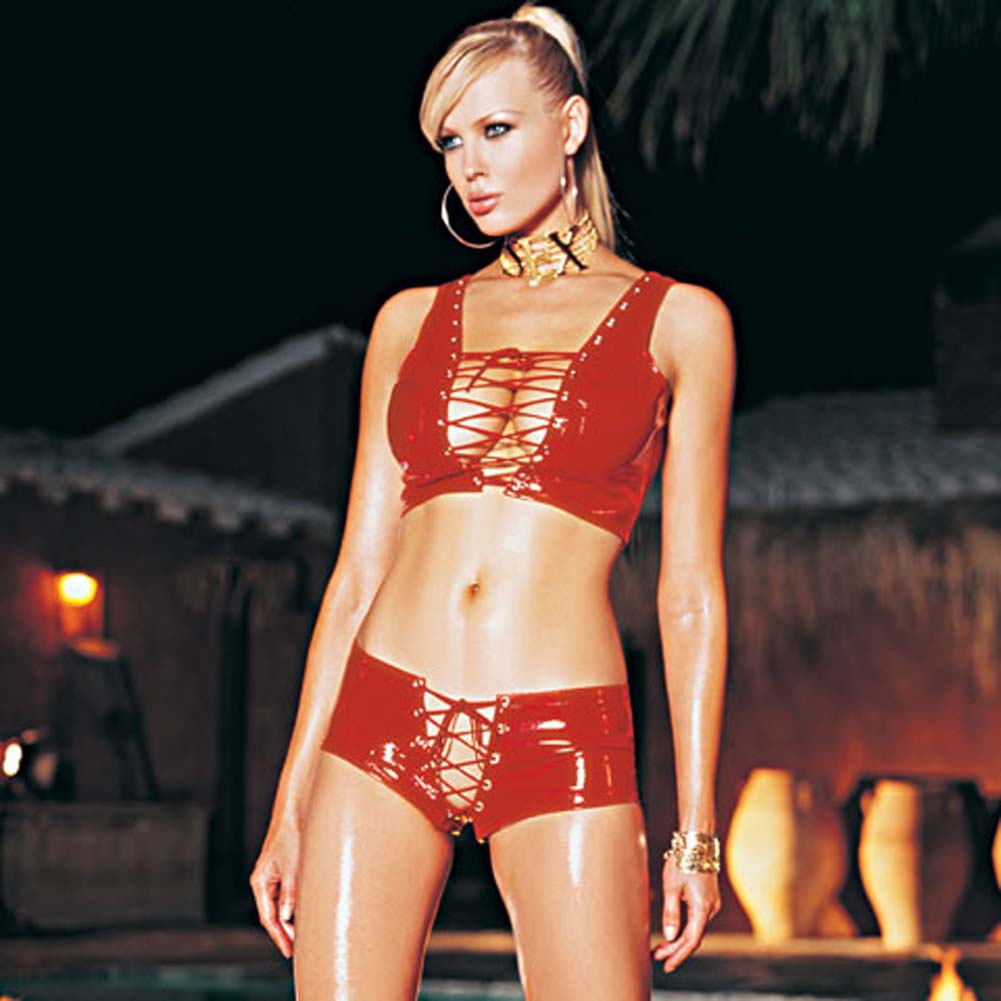 Vinyl Lace Up Front Top with Lace Up Shorts Set Red Medium - View #1