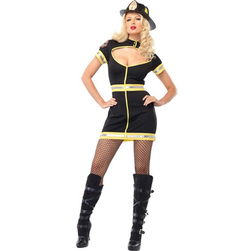 Flirty Firefighter Costume Extra Large Black/Yellow - View #2