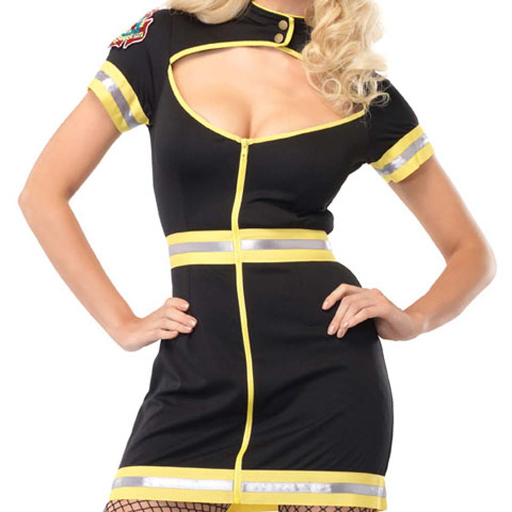 Flirty Firefighter Costume Extra Large Black/Yellow - View #4