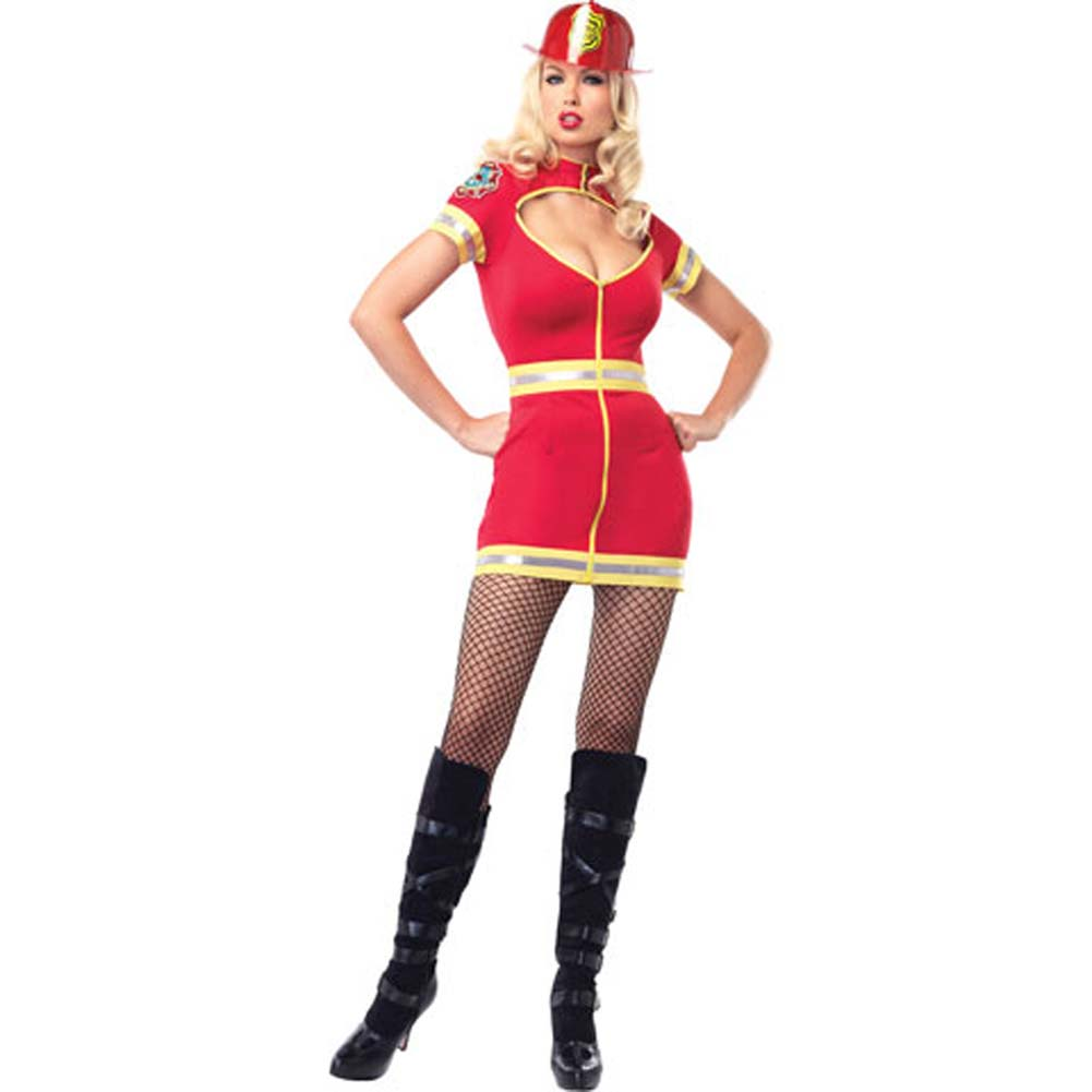 Leg Avenue Flirty Firefighter Costume for Women Extra Large Red - View #2