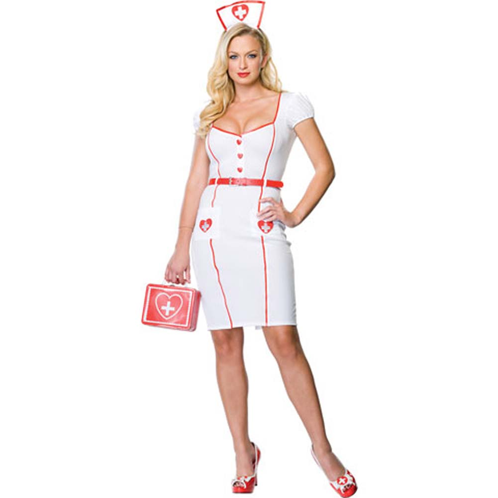 Nurse Knockout Costume Small/Medium WhiteRed - View #2