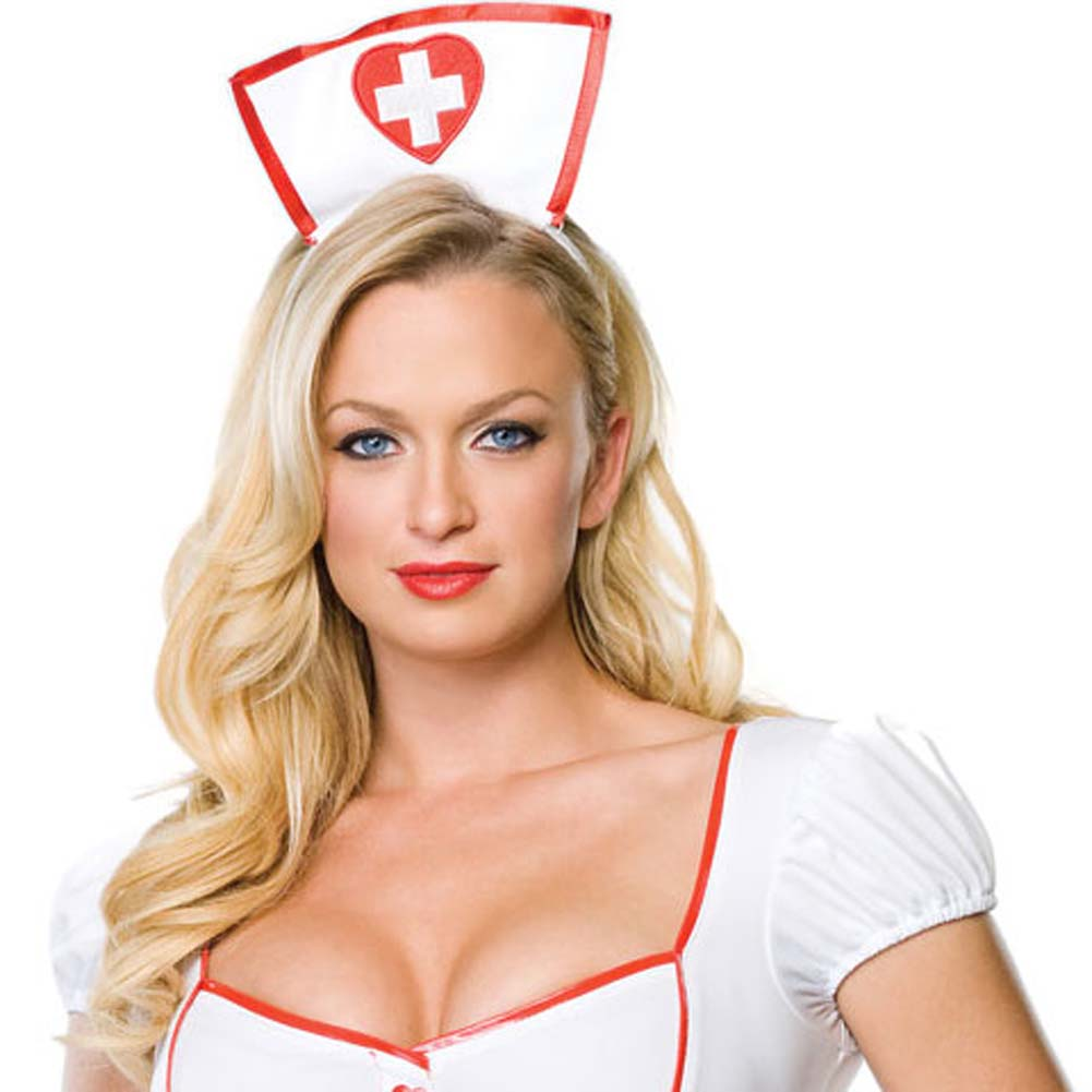 Nurse Knockout Costume by Leg Avenue Medium/Large White/Red - View #3