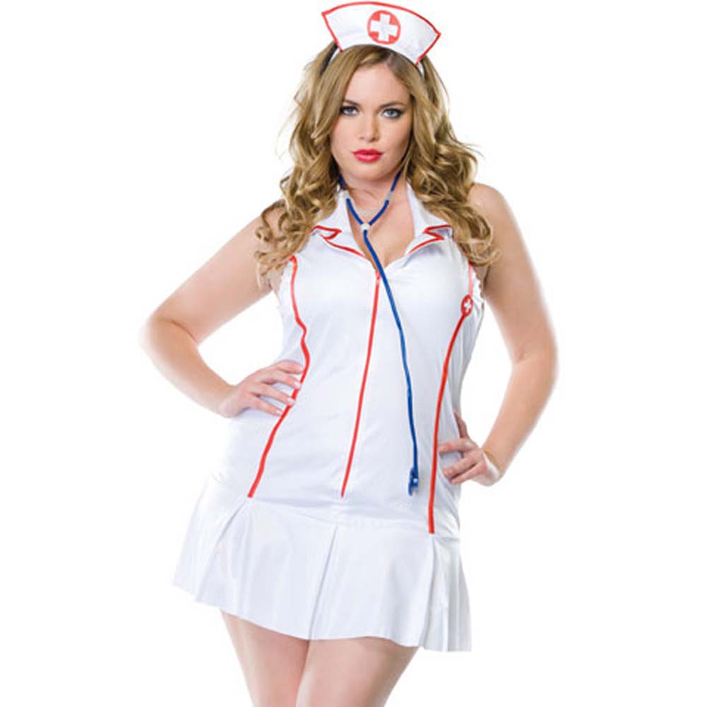 Head Nurse Costume Size Plus 1X/2X WhiteRed - View #1