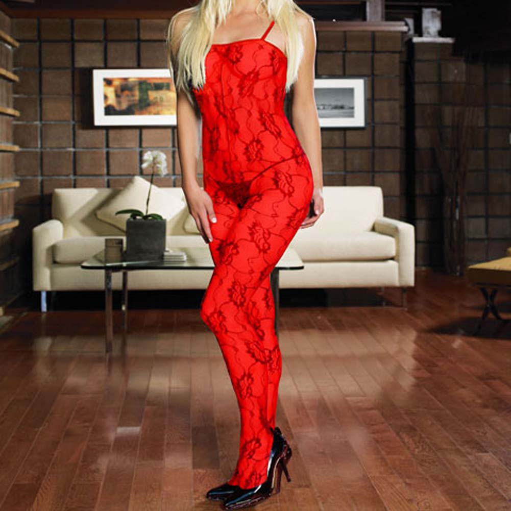 Rose Lace Crotchless Bodystocking Red Plus Size - View #1
