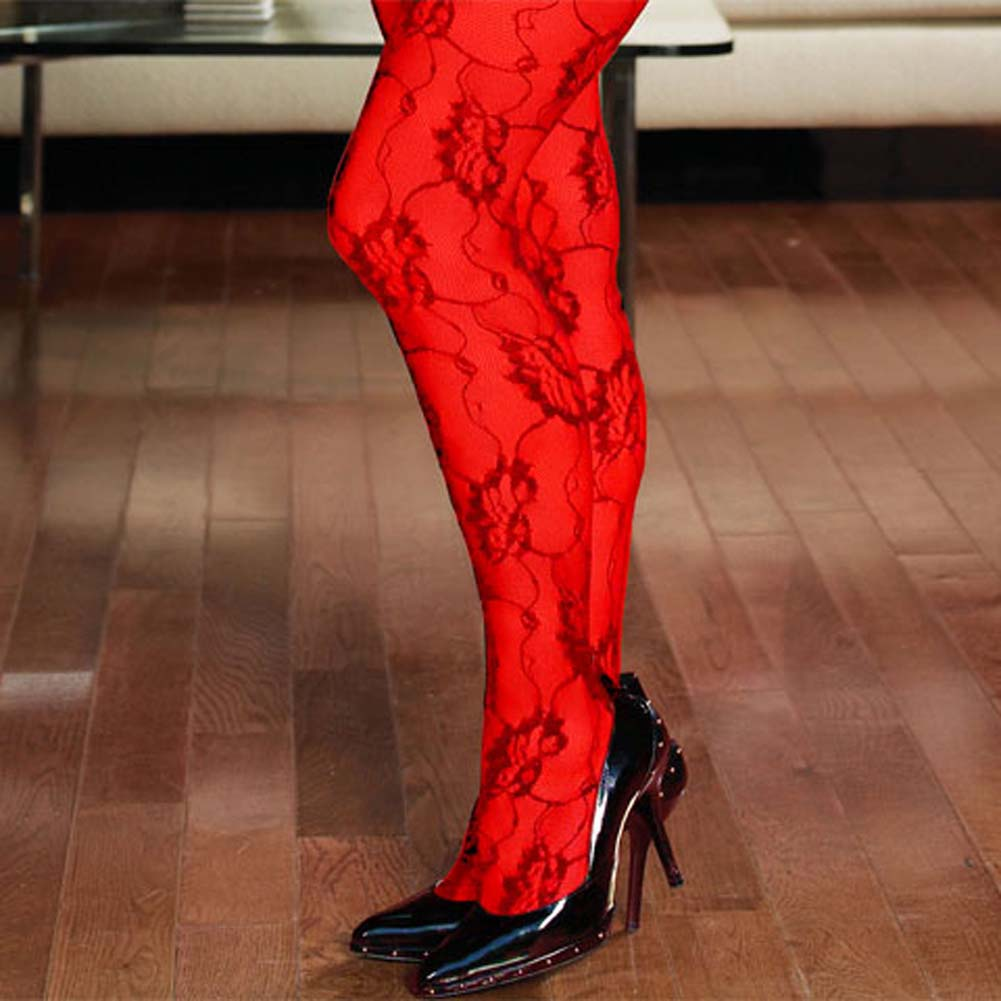 Rose Lace Crotchless Bodystocking Red Plus Size - View #3
