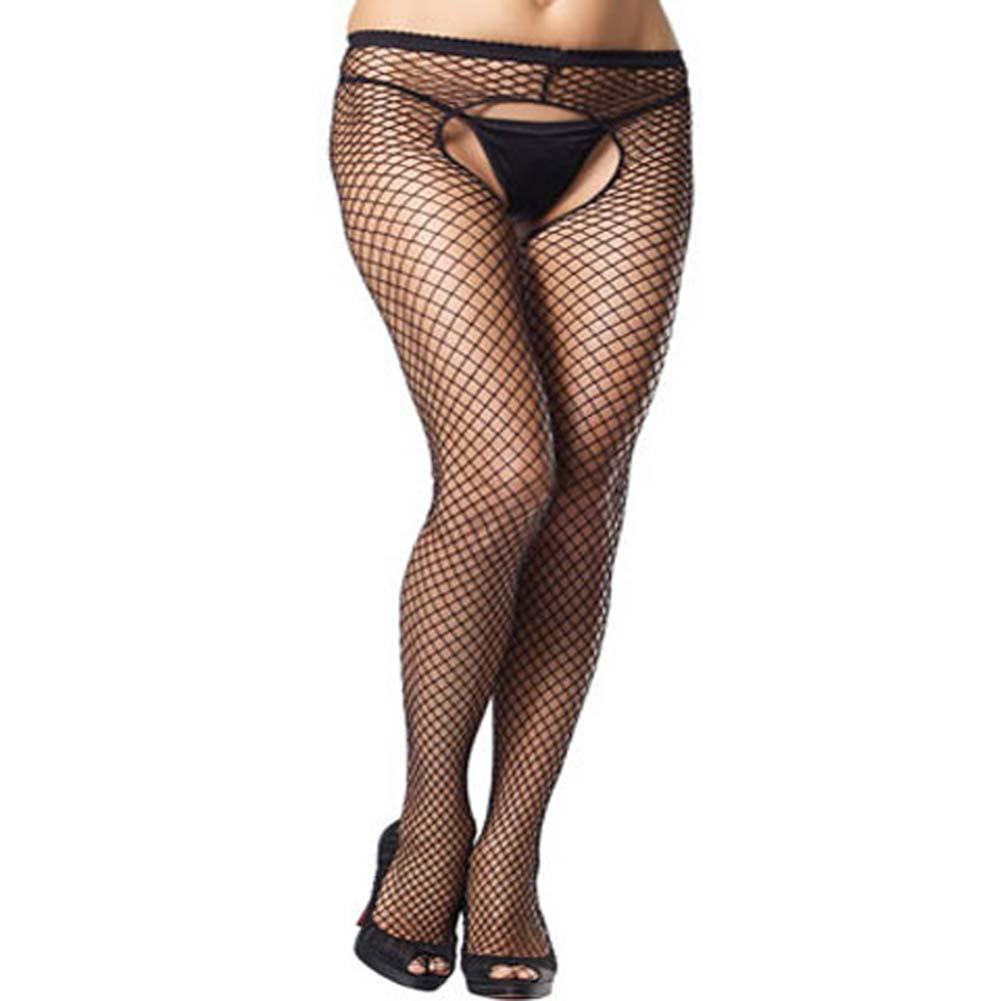 Industrial Net Crotchless Pantyhose Black Plus Size - View #1