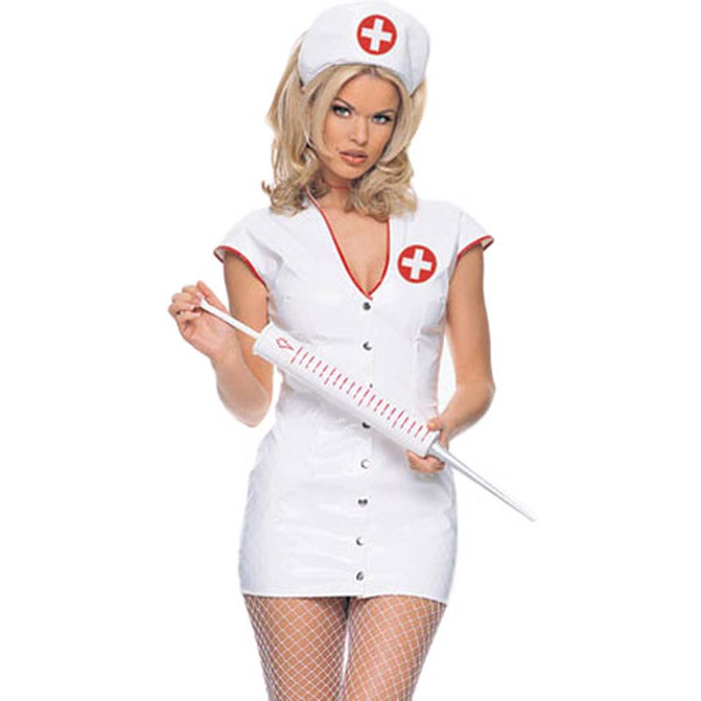 Vinyl Nurse Outfit Costume Extra Large White - View #1