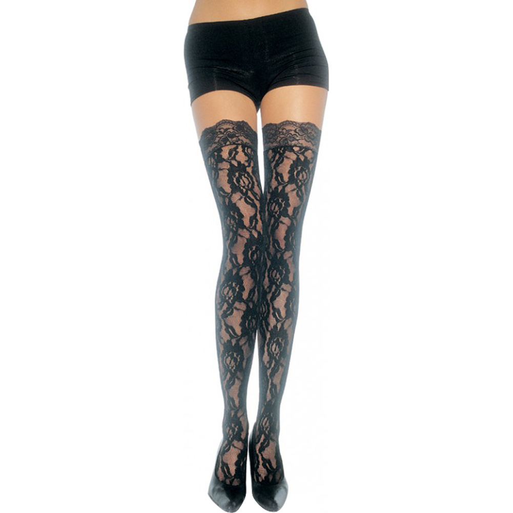 Rose Lace Thigh Highs with Lace Top Stockings One Size Black - View #2