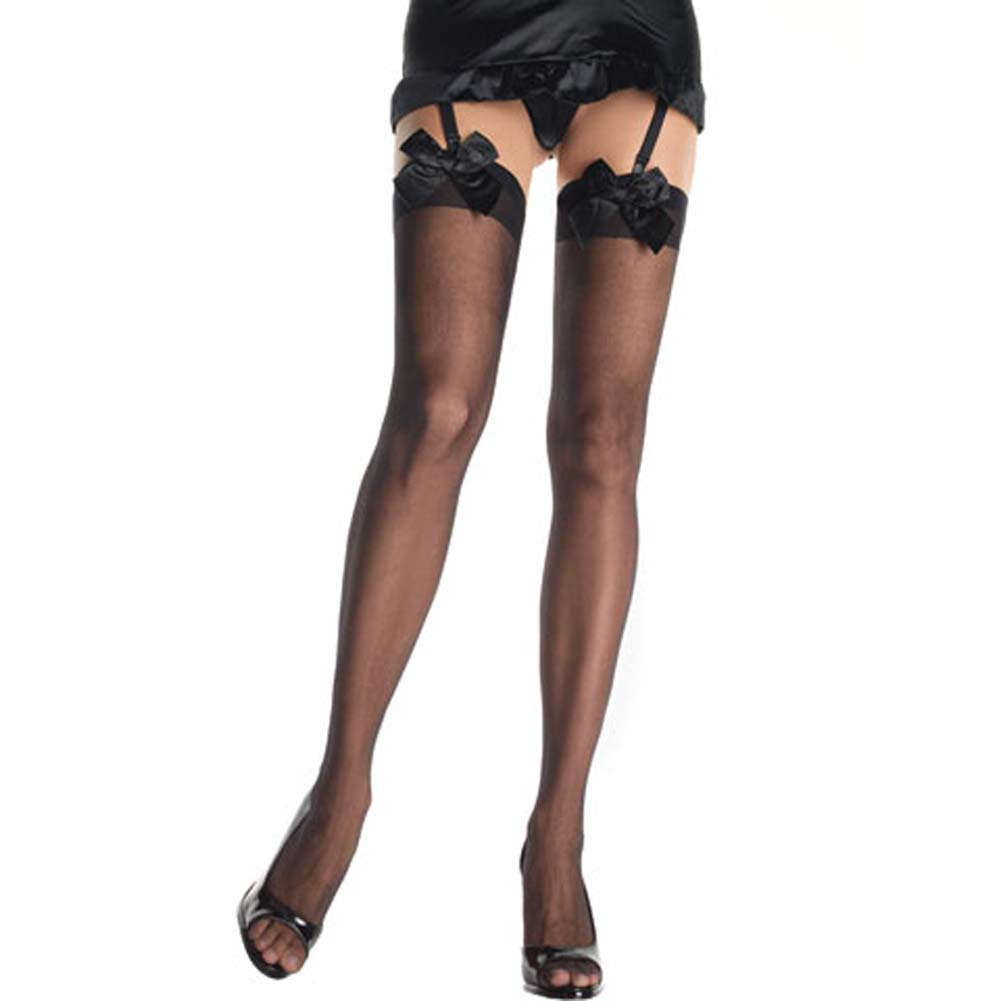 Sheer Thigh Highs with Satin Bow Black - View #1