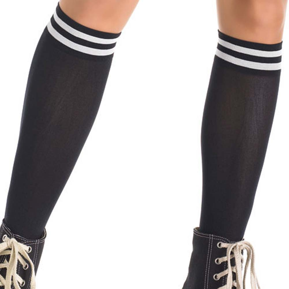 Opaque Knee High Stocking Socks with Top Stripes - View #2