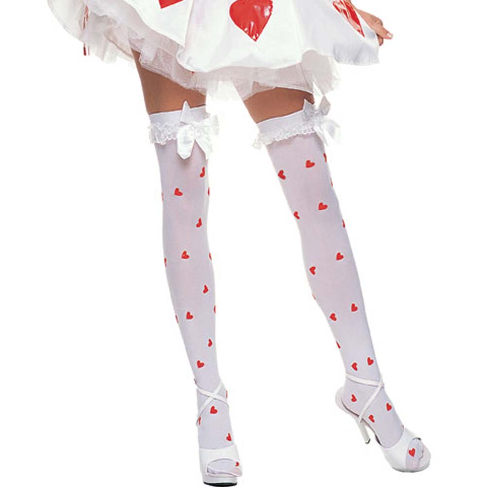Opaque Thigh Highs with Heart Print and Ruffle Top Satin Bow - View #1