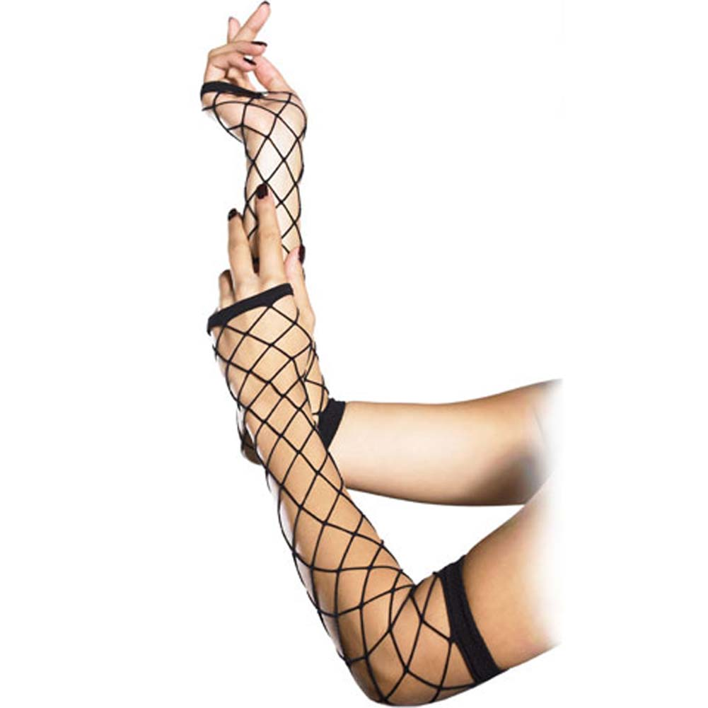 Leg Avenue Fingerless Industrial Fishnet Gloves One Size Black - View #1