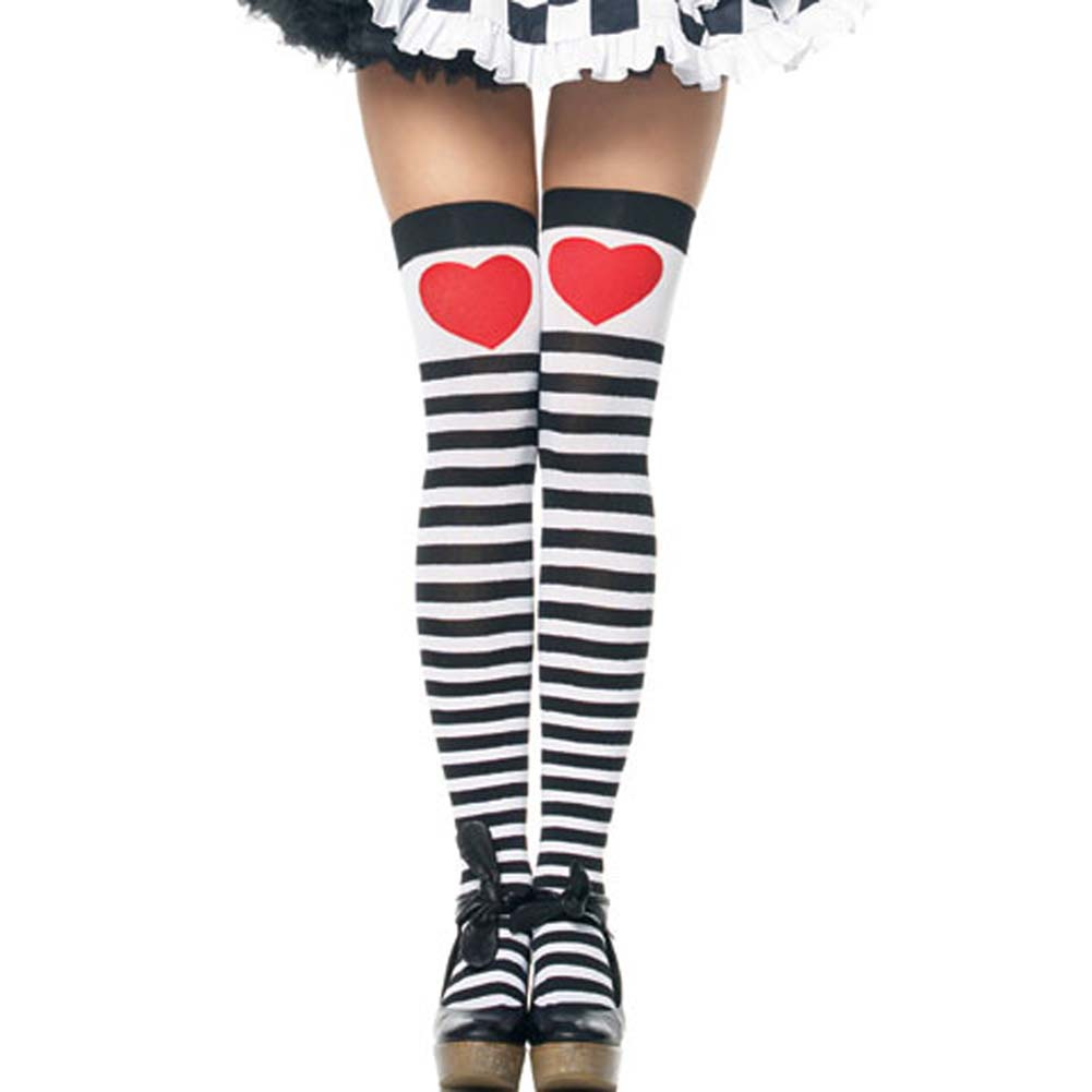 Striped Stockings with Red Heart Costume Accessory - View #1