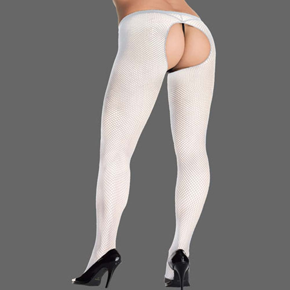 Crotchless Fishnet Pantyhose Plus Size White - View #1
