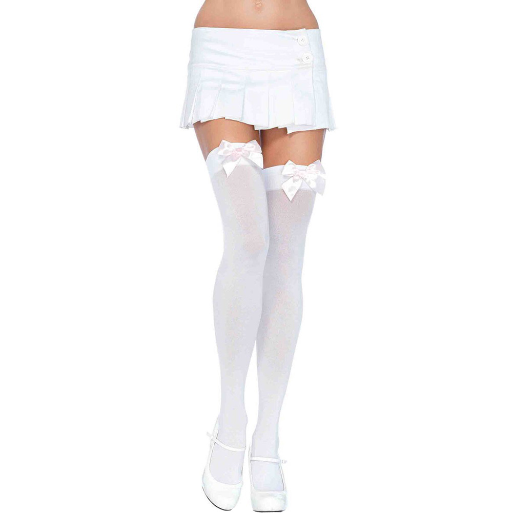 Opaque Thigh Highs with Satin Bow Plus Size White - View #1