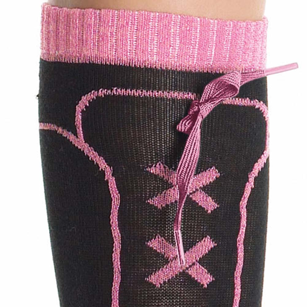 Sneaker Socks with Lurex Lace Up Black with Pink Trim - View #2