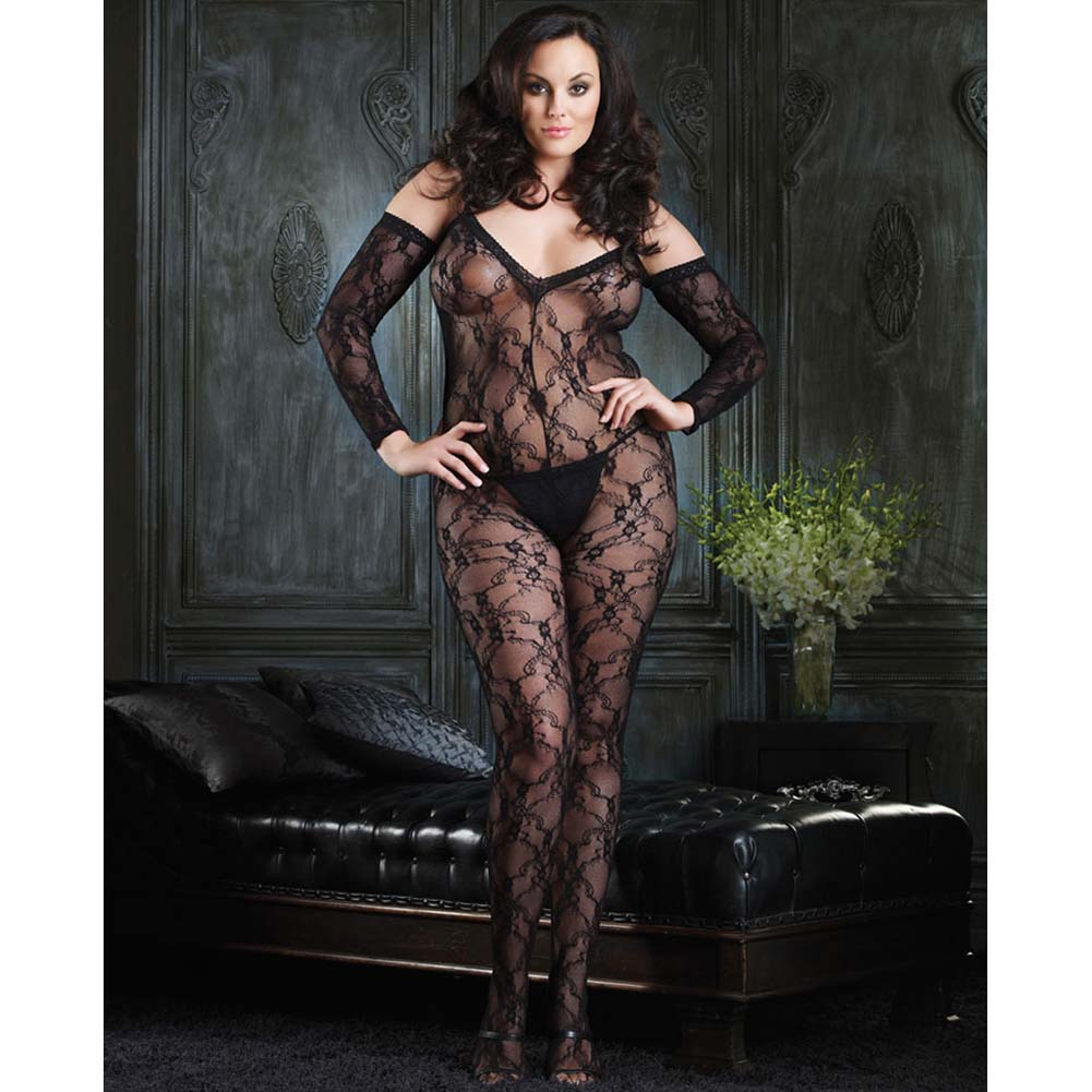 Fashion Lace and Shoulder Cut Bodystocking White Plus Size - View #2