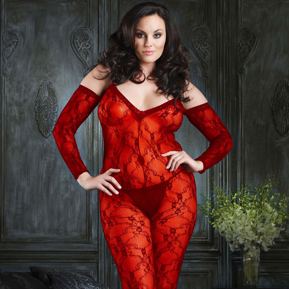 Fashion Lace and Shoulder Cut Bodystocking Red Plus Size - View #1