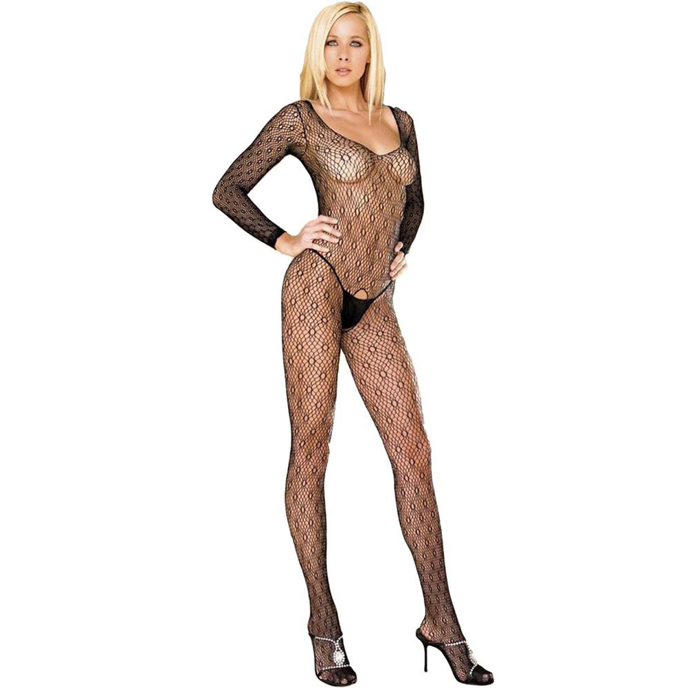 Sweet and Seamless Honeycomb Bodystocking One Size Black - View #1