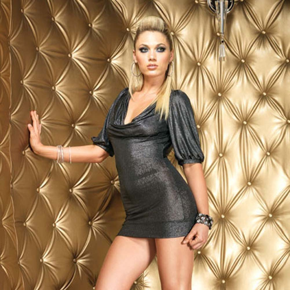 Gunmetal Shimmer Slinky Mini Dress Medium/Large Black - View #1