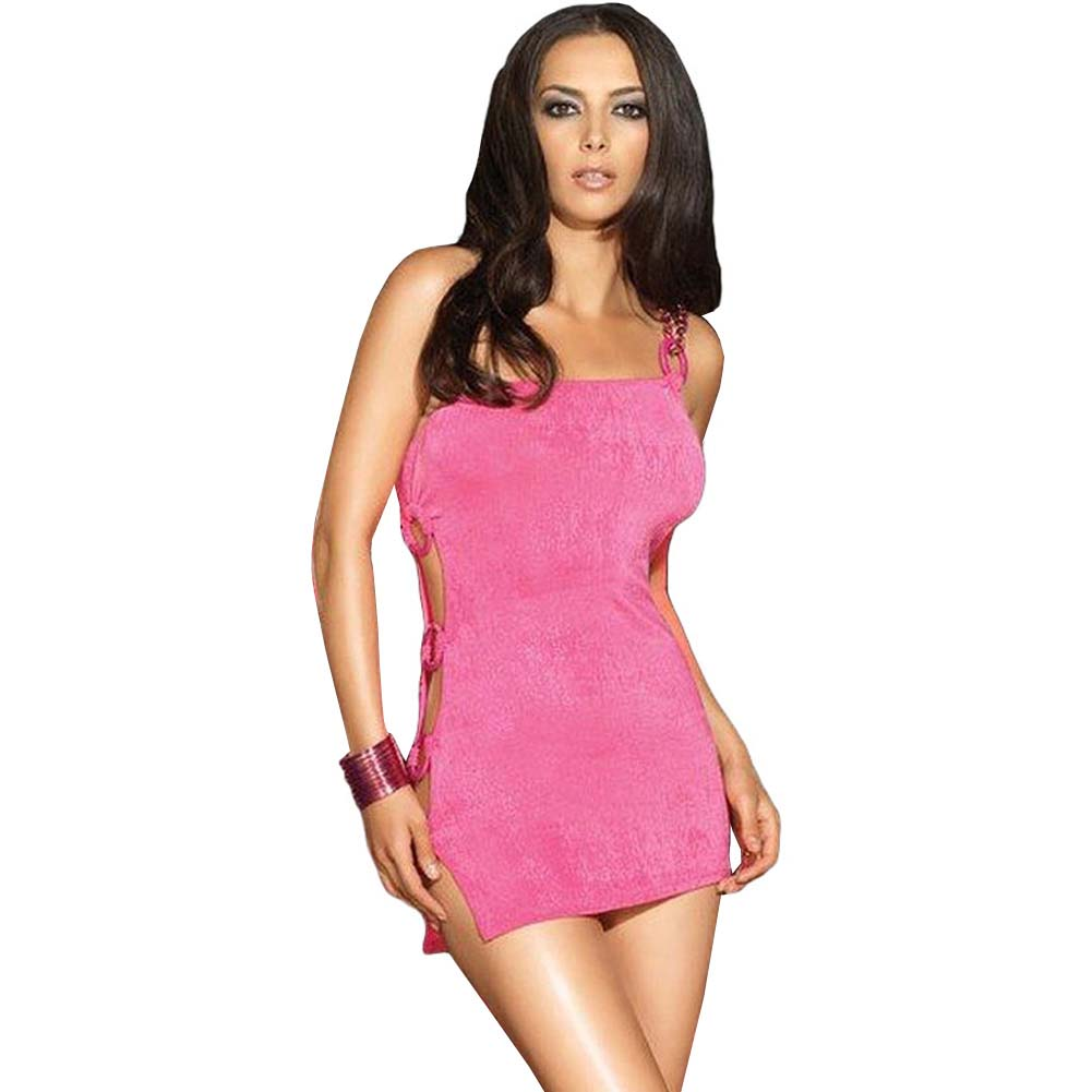 Single Strapped Cut Out Mini Chemise Medium/Large Hot Pink - View #1