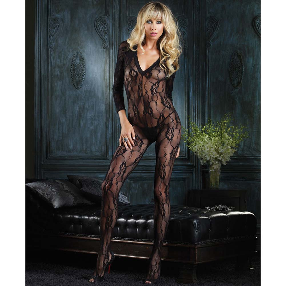 Romantic Rose Lace Long Sleeve Bodystocking White - View #3