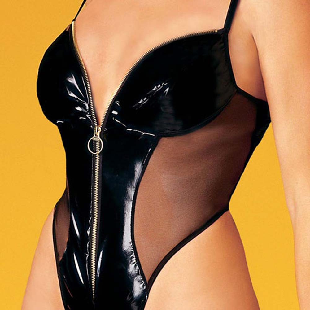 Vinyl Zip Front Teddy - View #1