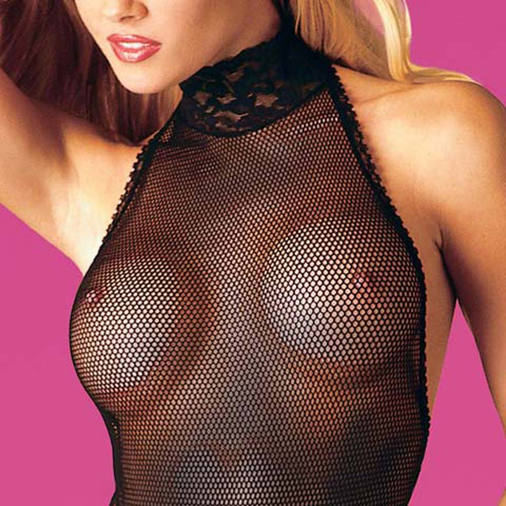 Fishnet Halter Teddy Plus Size - View #1