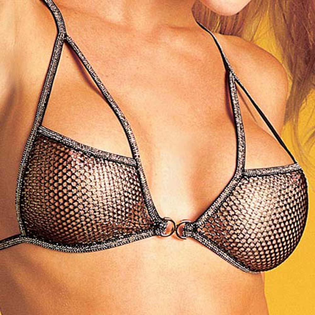 Fishnet Bra and G-String Set - View #1