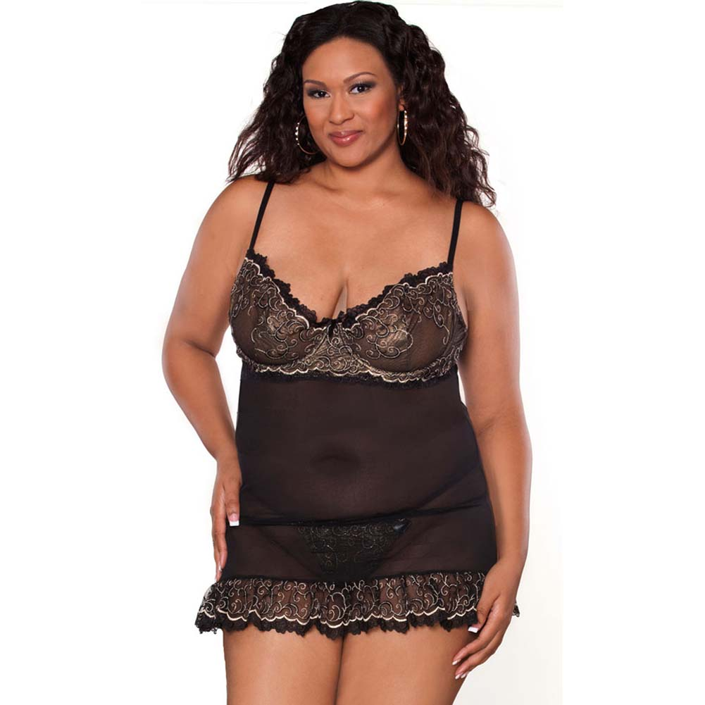 Absolute Treasure Demi Babydoll and Panty 3X Black/Gold - View #1