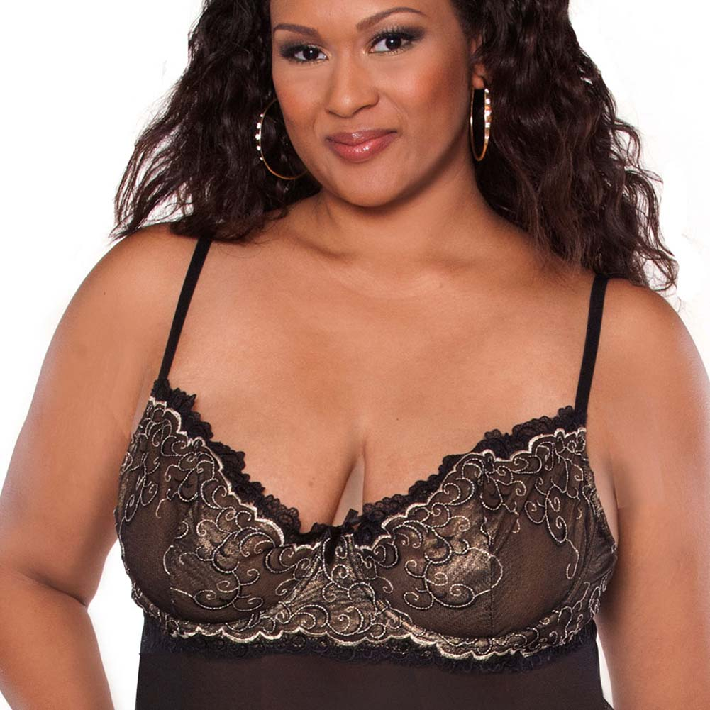 Absolute Treasure Demi Babydoll and Panty 3X Black/Gold - View #3