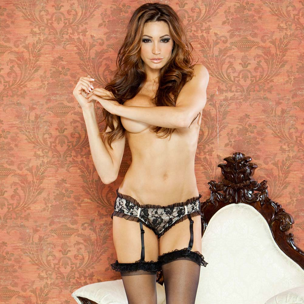 Nude Affair Lacey Peek A Boo Garter Panty Medium Nude/Black - View #1