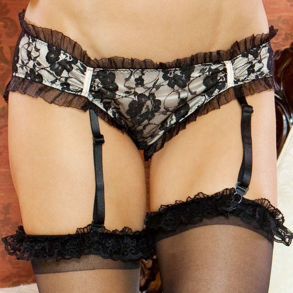 Nude Affair Lacey Peek A Boo Garter Panty Medium Nude/Black - View #3