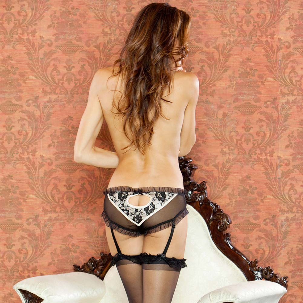 Nude Affair Lacey Peek A Boo Garter Panty Large Nude/Black - View #2