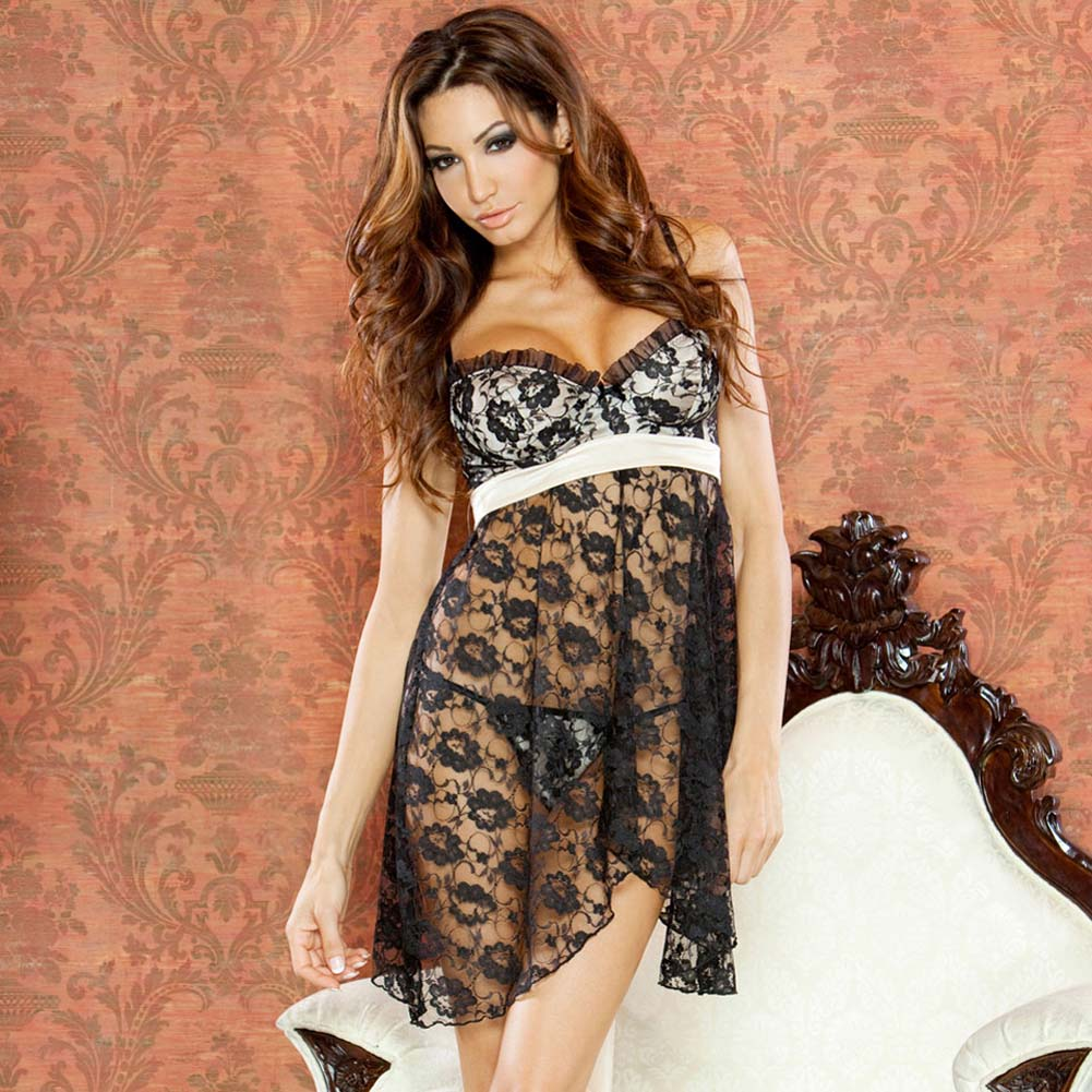 Nude Affair Tieback Lacey Babydoll and Panty Medium Black - View #1
