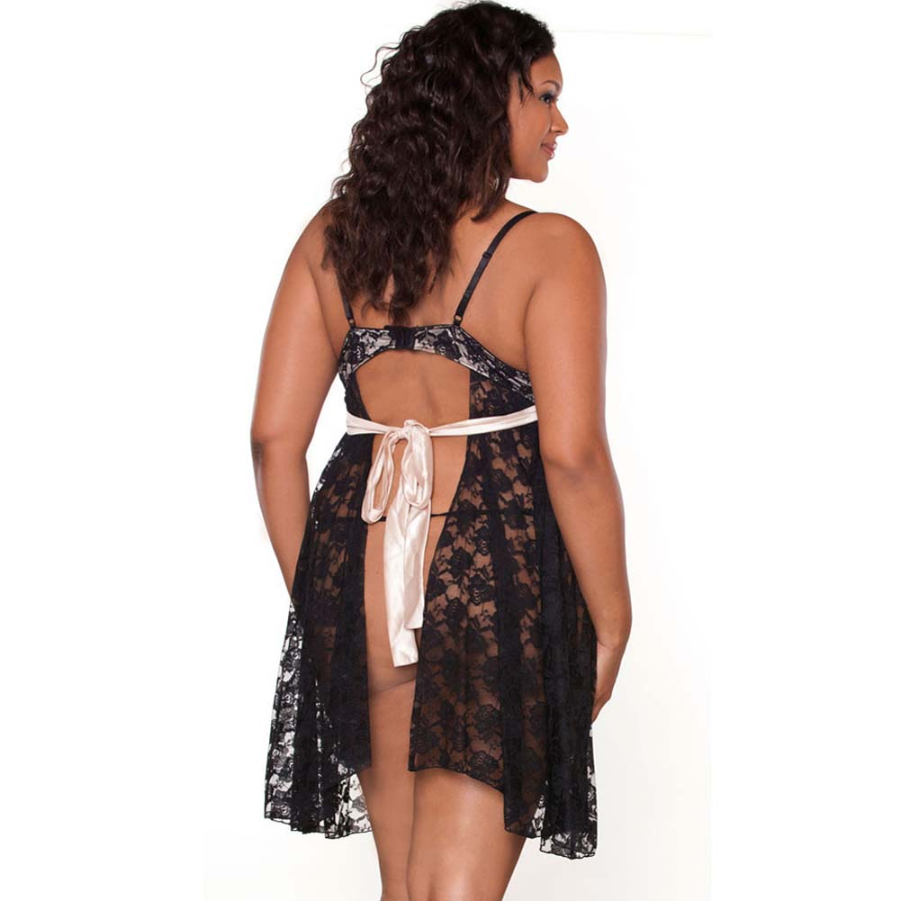 Nude Affair Tieback Lacey Babydoll and Panty Plus 2X Black - View #2